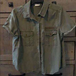 Military green Utility styled button down